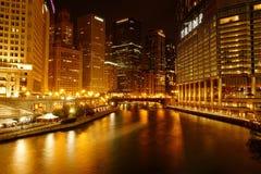 Νύχτα του Σικάγου Στοκ Φωτογραφία