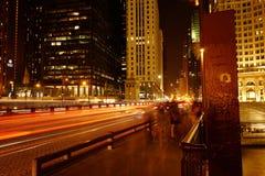 Νύχτα του Σικάγου Στοκ Φωτογραφίες
