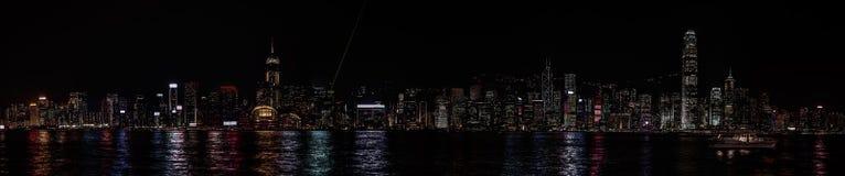 Νύχτα του Χογκ Κογκ πανοράματος Στοκ φωτογραφία με δικαίωμα ελεύθερης χρήσης