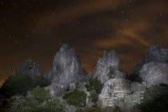 Νύχτα των αστεριών στο φυσικό τοπίο του Torcal de Antequera, laga MÃ ¡ Στοκ Εικόνες
