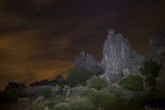 Νύχτα των αστεριών στο φυσικό τοπίο του Torcal de Antequera, laga MÃ ¡ Στοκ φωτογραφίες με δικαίωμα ελεύθερης χρήσης