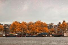 Νύχτα φθινοπώρου του Άμστερνταμ Στοκ Φωτογραφία