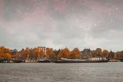 Νύχτα φθινοπώρου του Άμστερνταμ Στοκ Εικόνες