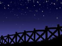 νύχτα φραγών έναστρη Στοκ εικόνα με δικαίωμα ελεύθερης χρήσης