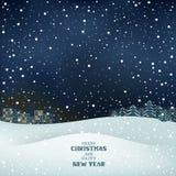 Νύχτα χειμερινών Χριστουγέννων Στοκ Εικόνες