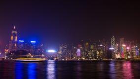 Νύχτα Χονγκ Κονγκ. Πυροβολισμός από Kowloon. Στοκ φωτογραφία με δικαίωμα ελεύθερης χρήσης