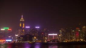 Νύχτα Χονγκ Κονγκ. Πυροβολισμός από Kowloon. Στοκ Εικόνες