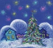 νύχτα Χριστουγέννων έναστρη Μικρά ζωηρόχρωμα χιονώδη δέντρα σπιτιών, έλατο Χριστουγέννων Hand-drawn απεικόνιση κρητιδογραφιών σε  διανυσματική απεικόνιση