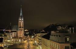 Νύχτα Arendal στη Νορβηγία Στοκ Φωτογραφία