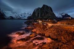 Νύχτα Hamnoy Στοκ Εικόνα