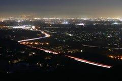 Νύχτα San Fernando Valley του Λος Άντζελες Στοκ εικόνα με δικαίωμα ελεύθερης χρήσης