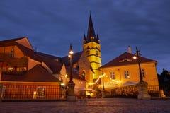 νύχτα Sibiu στοκ φωτογραφία