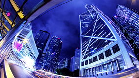 Νύχτα Timelapse πόλεων Χονγκ Κονγκ. Ευρύς πυροβολισμός απόθεμα βίντεο
