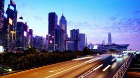 Νύχτα Timelapse πόλεων Χονγκ Κονγκ. Ευρύς πυροβολισμός. απόθεμα βίντεο