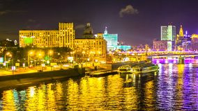 Νύχτα timelapse του κέντρου πόλεων της Μόσχας φιλμ μικρού μήκους
