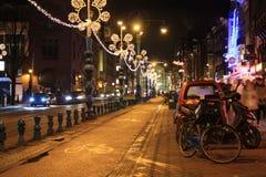 Νύχτες πόλεων του Άμστερνταμ Στοκ Εικόνα