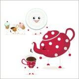 Ν το πρώτο πλάνο κόκκινο teapot με τα άσπρα σημεία π Πόλκα Στοκ Εικόνες