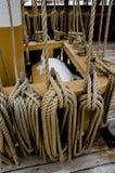 Ξάρτια στο Charles W Whaleship του Morgan - απόκρυφος θαλάσσιος λιμένας, Κοννέκτικατ, ΗΠΑ Στοκ Φωτογραφία