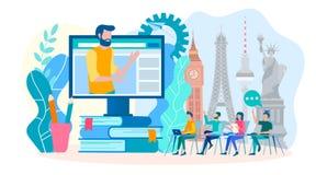 Ξένες γλώσσες εκμάθησης on-line σε μια ομάδα Σε απευθείας σύνδεση γλωσσική κατάρτιση, webinar στην εκμάθηση των ξένων γλωσσών στοκ εικόνες