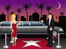 Ξένιοι χ/υ κόκκινου χαλιού Hollywood διανυσματική απεικόνιση