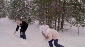 Ξένοιαστο παιχνίδι mom και κορών στην πάλη χιονιού στο χειμερινό δάσος σε αργή κίνηση απόθεμα βίντεο