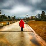 Ξένος με ένα κόκκινο παλτό που περπατά σε ένα πάρκο μια βροχερή ημέρα ενάντια σε έναν δραματικό ουρανό Στοκ Εικόνα