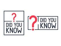 Ξέρατε την ετικέτα ερωτηματικών Επίπεδη απεικόνιση στο άσπρο υπόβαθρο Σύγχρονο εικονίδιο γραμμών της θέσης γνώσης απεικόνιση αποθεμάτων