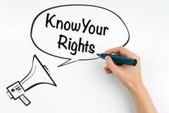 Ξέρτε τα δικαιώματά σας Megaphone και κείμενο σε ένα άσπρο υπόβαθρο στοκ εικόνα με δικαίωμα ελεύθερης χρήσης