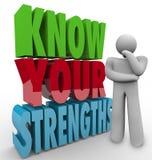 Ξέρτε το πρόσωπο δυνάμεών σας που σκέφτεται τις ειδικές δεξιότητες απεικόνιση αποθεμάτων