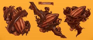 Ξέσματα φασολιών και σοκολάτας κακάου με τους παφλασμούς τρισδιάστατο διάνυσμα διανυσματική απεικόνιση