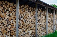 Ξήρανση καυσόξυλου για το χειμώνα, σωροί του καυσόξυλου στοκ φωτογραφία με δικαίωμα ελεύθερης χρήσης