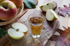 Ξίδι μηλίτη της Apple σε ένα γυαλί, με τα μήλα στο υπόβαθρο Στοκ Εικόνες