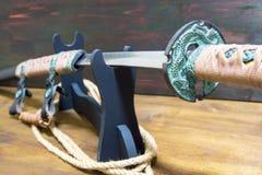 Ξίφος Σαμουράι Katana Τιμή του Σαμουράι Στοκ Φωτογραφία