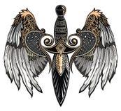 ξίφος φτερωτό Διανυσματική απεικόνιση ξιφών δερματοστιξιών ελεύθερη απεικόνιση δικαιώματος