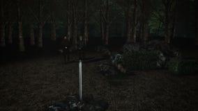 Ξίφος Excalibur σε έναν βράχο με τη Merlin και το βασιλιά Άρθουρ απόθεμα βίντεο