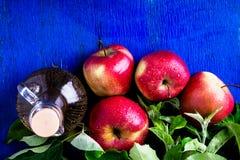 Ξίδι μηλίτη της Apple Ένα μπουκάλι γυαλιού στο μπλε υπόβαθρο κόκκινο μήλων Τοπ όψη Στοκ εικόνα με δικαίωμα ελεύθερης χρήσης
