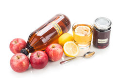Ξίδι μηλίτη της Apple με το μέλι και το λεμόνι, τις φυσικά θεραπείες και το γ Στοκ Φωτογραφίες