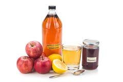 Ξίδι μηλίτη της Apple με το μέλι και το λεμόνι, τις φυσικά θεραπείες και το γ Στοκ Εικόνα
