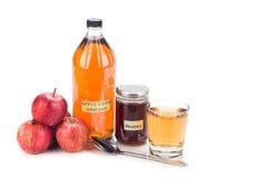 Ξίδι μηλίτη της Apple με το μέλι, τις φυσικές θεραπείες και τις θεραπείες για το γ Στοκ εικόνες με δικαίωμα ελεύθερης χρήσης