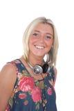 ξανθά ακουστικά κοριτσιώ& στοκ εικόνες με δικαίωμα ελεύθερης χρήσης