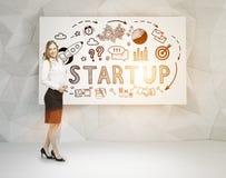 Ξανθά εικονίδια επιχειρηματιών και ξεκινήματος, αφίσα Στοκ φωτογραφία με δικαίωμα ελεύθερης χρήσης