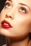 ξανθά θεϊκά χείλια κοριτσιών που χωρίζονται Στοκ φωτογραφία με δικαίωμα ελεύθερης χρήσης