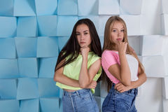 Ξανθά και αλαζονικά κορίτσια brunette Στοκ Εικόνες