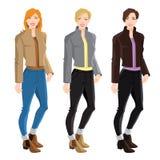 Ξανθά και κορίτσια brunette στο σακάκι βομβαρδιστικών αεροπλάνων, τα τζιν και την μπότα αστραγάλων Στοκ φωτογραφία με δικαίωμα ελεύθερης χρήσης