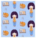 Ξανθά κορίτσια, βιβλία, γάτες πιπεροριζών, γατάκια και φλυτζάνι τσαγιού Διανυσματική απεικόνιση για τα παιδιά, παιδιά, μωρά ελεύθερη απεικόνιση δικαιώματος