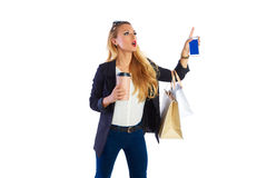 Ξανθά shopaholic τσάντες και smartphone γυναικών Στοκ φωτογραφίες με δικαίωμα ελεύθερης χρήσης