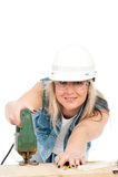 ξανθές εργαζόμενες νεο&lambd Στοκ εικόνα με δικαίωμα ελεύθερης χρήσης