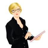Ξανθή γυναίκα που γράφει το έγγραφο Στοκ φωτογραφία με δικαίωμα ελεύθερης χρήσης