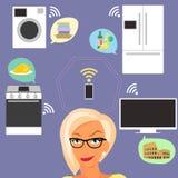 Ξανθή γυναίκα που σκέφτεται για τις έξυπνες συσκευές στο σπίτι απεικόνιση αποθεμάτων