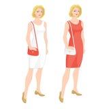 ξανθή γυναίκα στο φόρεμα κοκτέιλ Στοκ Εικόνα